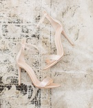 champagne hued heels ankle straps gems over toe accessories