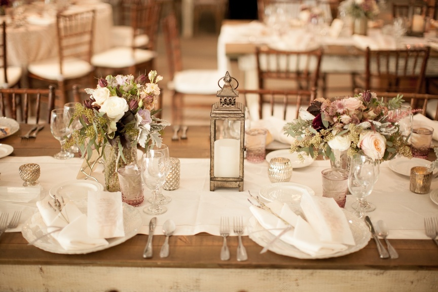 Linda Howard Events designed this couple's rustic-meets-shabby chic wedding reception in Malibu, Cal