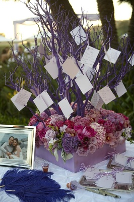 Wedding ceremony wishing tree with purple branches