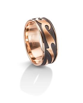 Furrer Jacot 71-29310 rose gold and black rhodium wedding band