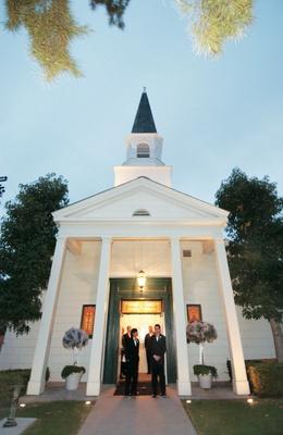 White chapel in Newport Beach at dusk