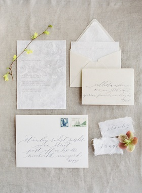 wedding bridal shower invitation suite with delicate handmade paper