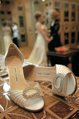 Manolo Blahnik champagne heels with sparkle