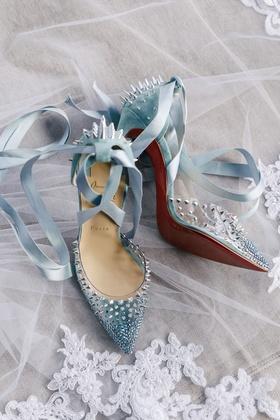 baby blue high heels christian louboutin red bottom silver spike velvet ribbon ankle straps