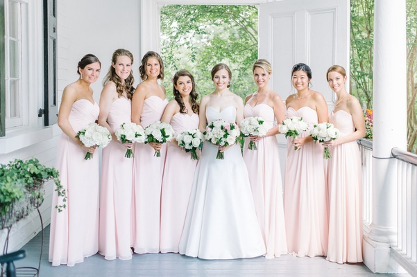 bride bridal party blush ensembles classic feminine colors southern traditional estate