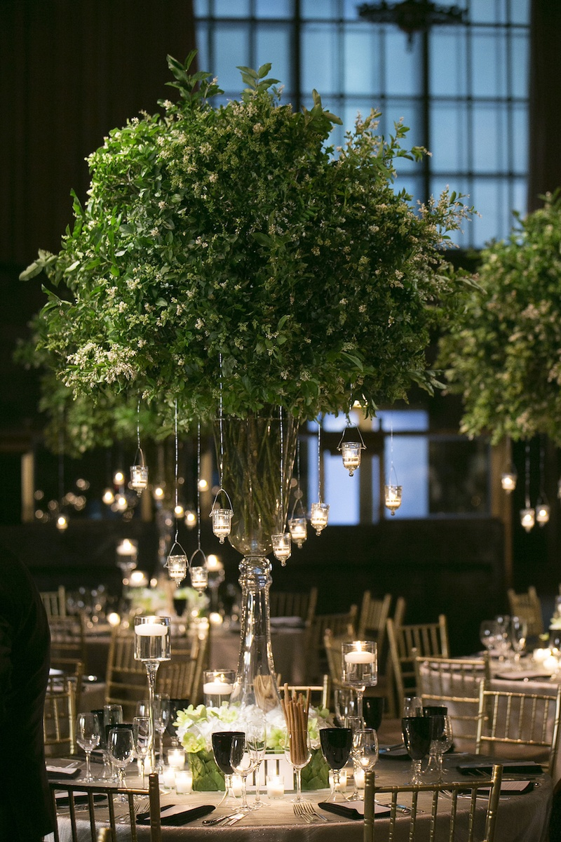 Reception Décor Photos - Lush Greenery & Candle Centerpiece - Inside ...