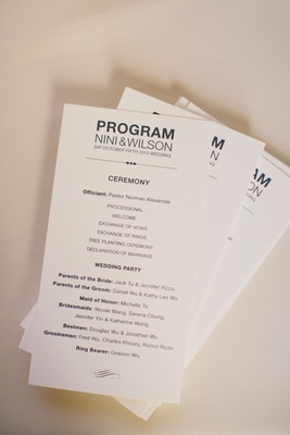 ceremony program with officiant, schedule, wedding party in modern font
