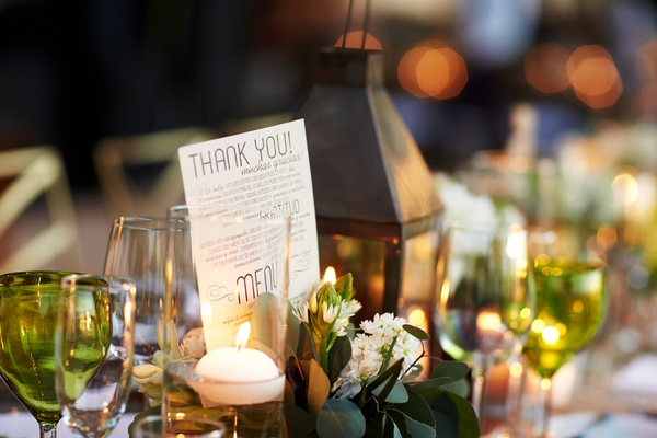 Rustic wedding tablescape with thank you card from couple