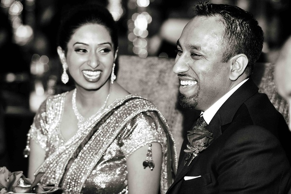 Black and white photo of Indian bride and groom