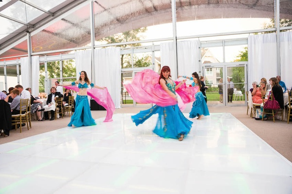 Tented wedding reception with Lebanese belly dance troop