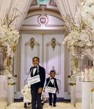 shannon perkins and tahir whitehead kids wagon cute signs around necks white gold ballroom decor