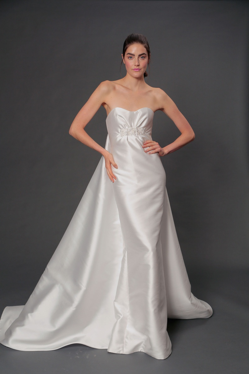 Isabelle Armstrong fall 2019 bridal collection wedding dress Maude silk ruched embroidered bodice