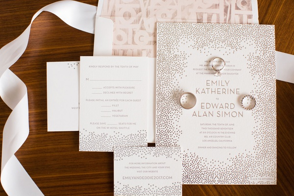 Wedding invitation modern design on envelope liner and point design on invitation rsvp card