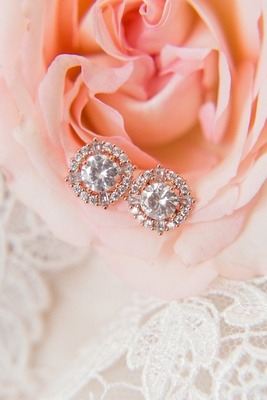 Wedding day jewelry ideas round diamond earrings with halo setting rose gold style