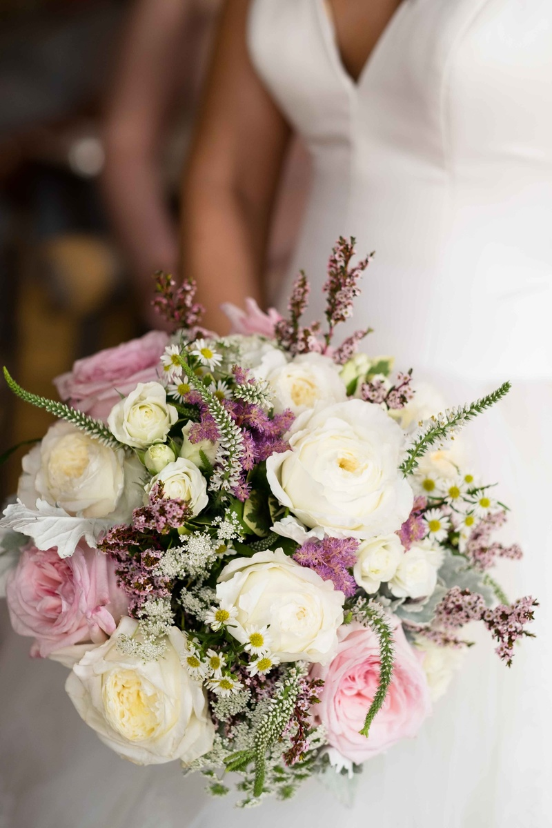 Bouquets photos pink white and green bouquet inside weddings a soft bouquet made up of white pink light purple flowers and small sprigs of foliage izmirmasajfo