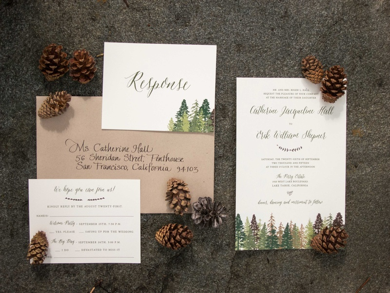 tahoe wedding with pine trees painted on forest-inspired invitation suite