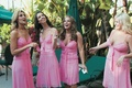 Pink bridesmaids at Beverly Hills Hotel wedding