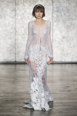 Inbal Dror Fall 2018 3D lace deep-v gown, appliquéd skirt, beaded necklace long crochet lace sleeves
