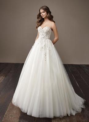 Badgley Mischka Bride 2018 collection wedding dress Bernadette strapless a line ball gown tulle