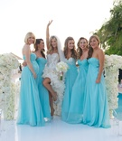 Joanna Krupa's bridesmaids in blue dresses