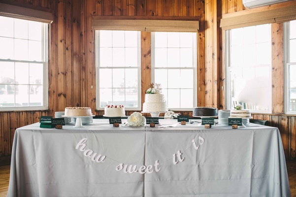 how sweet it is dessert table five cakes maine wedding yummy confections reception food favors cake
