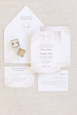 invitation suite with pale taupe decorations vine pattern
