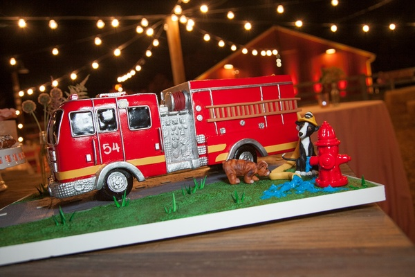 Groom's wedding cake with fire engine and fire hydrant