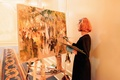 Live event painter Laura Swytak at Houston wedding