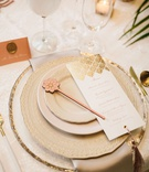 wedding reception place setting moroccan style gold menu card tassel laser cut details