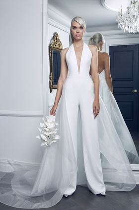 Romona Keveza Fall 2018 bridal collection crepe jumpsuit with halter neckline