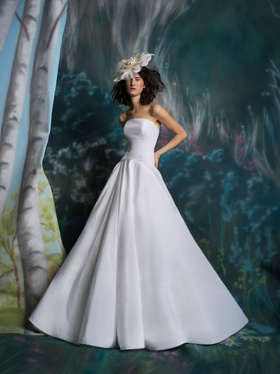 Isabelle Armstrong Spring 2019 collection silk faille ball gown with bow back and drop waist