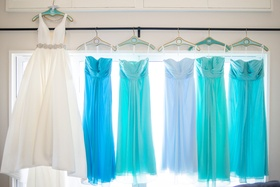 bridal gown with blue bridesmaids dresses