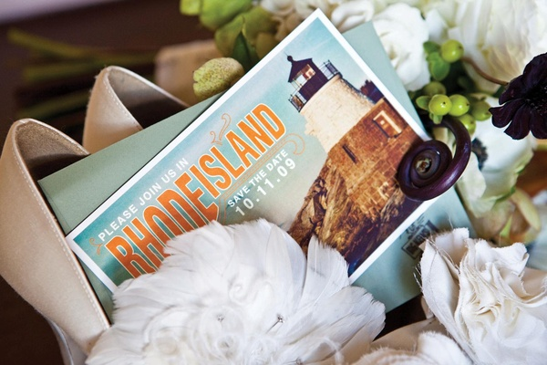 Rhode Island post card with light house wedding stationery