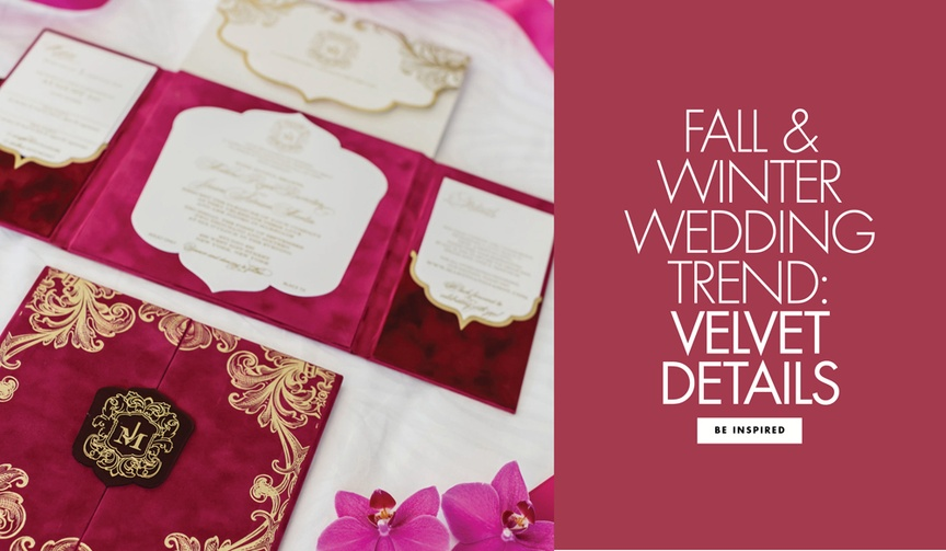 Wedding trend for fall and winter celebrations cozy velvet invitations and decor
