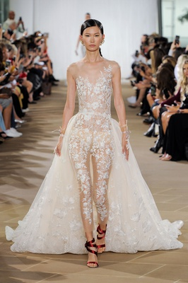 Ines Di Santo fall 2019 bridal collection wedding dress Nyx jumpsuit lace appliques detachable train