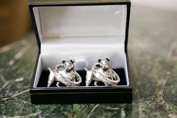 dog figurine, grooms wedding bands cuff links and men's bands