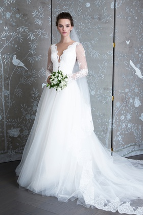 Legends Romona Keveza Spring 2019 collection lace illusion v neck a line gown with illusion sleeves
