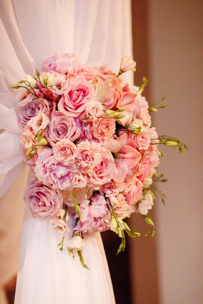 Ceremony Décor Photos - Pink Flower Drapes - Inside Weddings