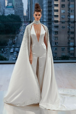 """Ellis"" Ines Di Santo fall 2018 deep v neck satin jumpsuit with jewel cape around neck pants"