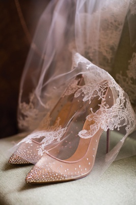 "Christian Louboutin ""Follies"" mesh pump with allover embellishment draped with lace veil"