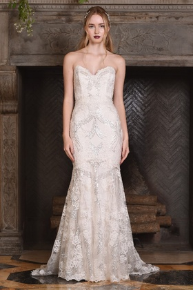 Claire Pettibone Four Seasons Couture Collection Celeste lace sweetheart mermaid bridal gown