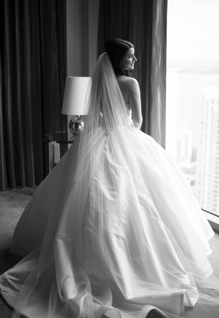 Black and white photo of Pnina Tornai ball gown