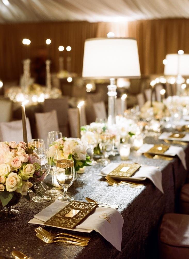 Reception Décor Photos - Silver Sequin Table - Inside Weddings