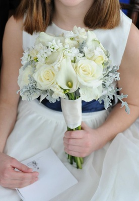 Calla lily, rose, stephanotis, dusty miller wedding bouquet