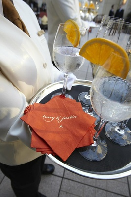 Customized wedding cocktail hour beverage napkins