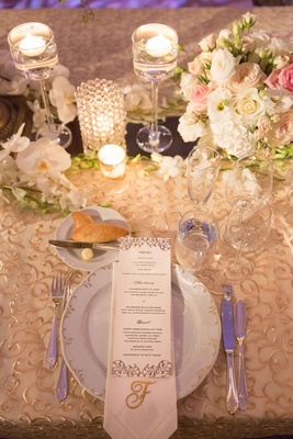 menu for wedding at the pierre in New York