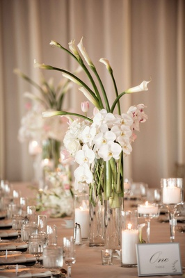 tall natural floral arrangement in ivory blush long stemmed glass elements classic decor flowers