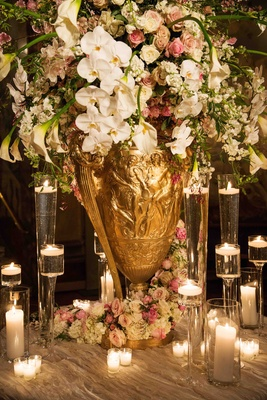 Gold urn with calla lily, rose, orchid, and peony flowers