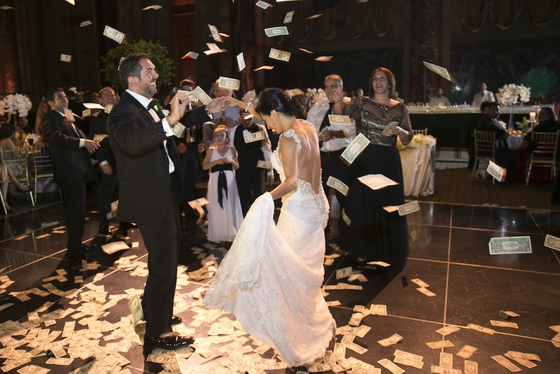 Ceremony First Reception: Money Tossed At First Dance