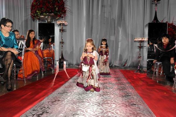 Damask silver aisle runner and flower girls